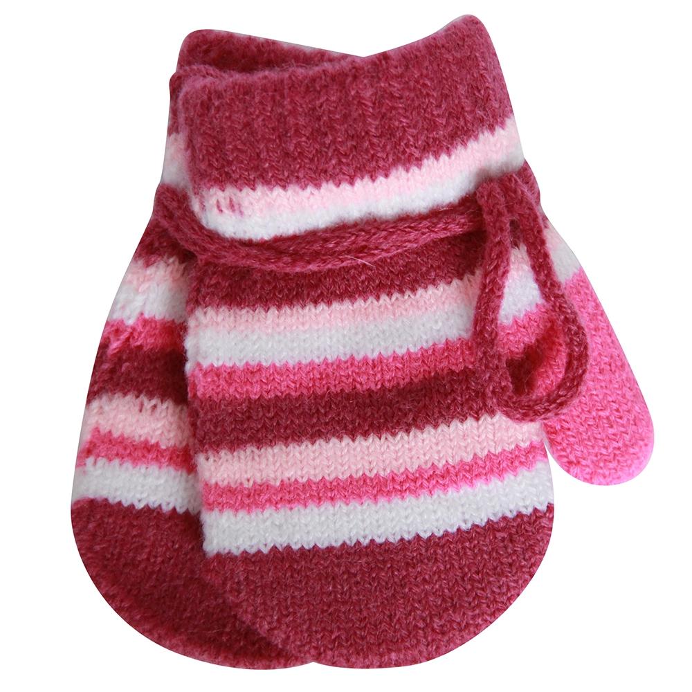 Варежки и перчатки Хамелеон Варежки для девочки «Хамелеон» брусничные, в полоску