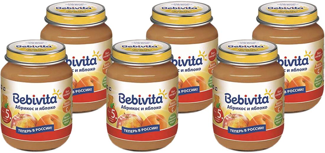 Bebivita пюре абрикос и яблоко с витамином С, с 5 месяцев, 6 шт по 100 г