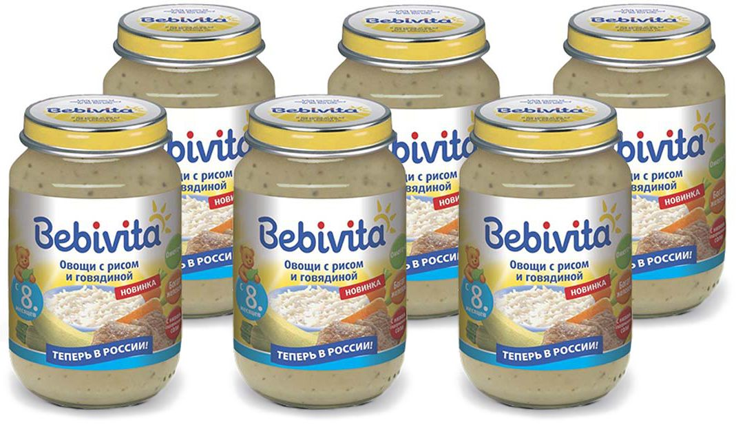 Bebivita пюре овощи с рисом и говядиной, с 8 месяцев, 6 шт по 190 г