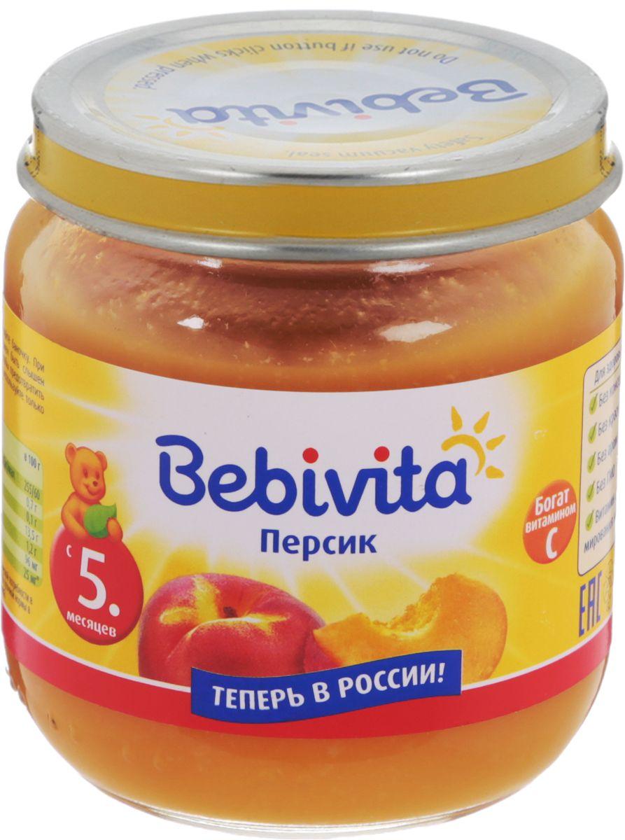 Bebivita пюре персик с витамином С, с 5 месяцев, 100 г