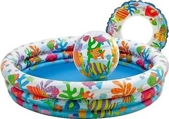 Детский надувной бассейн Intex 132х28см ''Рыбки'' с мячом и кругом 204л от 2 лет 59469